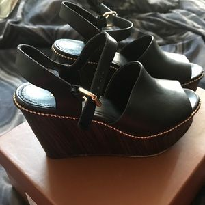 COACH Black Strappy Wedges with Gold Stud Detail